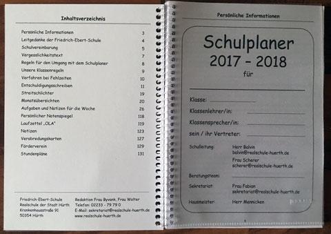 Schulplaner 2017_18 der Friedrich-Ebert-Schule Hürth